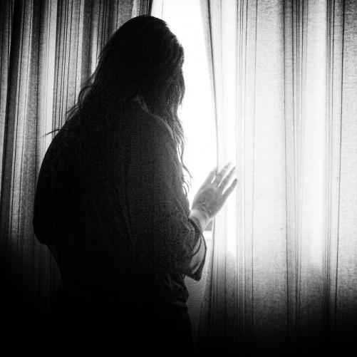 Wanking voyeur behind the window